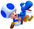 Blue Toad holdinng a baby yoshi