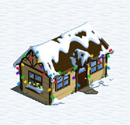 Cottage with snow and lights
