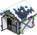 Tool Shed with snow and lights