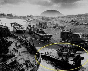 LVTs on Iwo Jima