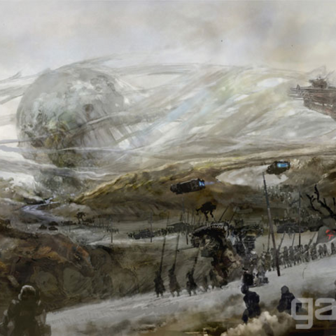 Concept art of the Niflheim forces approaching the Disc of Cauthess.