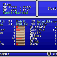 Second page of the Status menu in the GBA version.