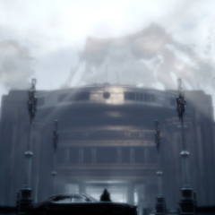 Young Noctis and his father King Regis at the Insomnia entrance, with three silhouetted beings appearing in the sky.