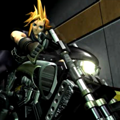 Cloud on the bike during an FMV sequence from <i>Final Fantasy VII</i>.