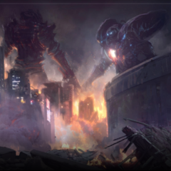 Concept art of the battle with Diamond Weapon.