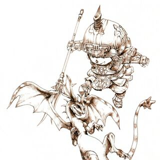 Promotional artwork of the Dragoon job class by Yuzuki Ikeda.