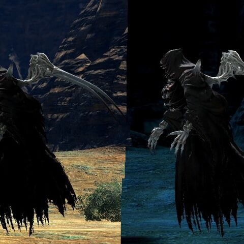 Screenshots of the bestial Ascians in the original <i>Final Fantasy XIV</i>.