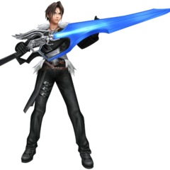 In-game render of Squall in <i>Dissidia</i>.