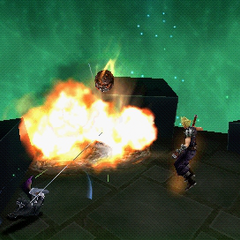 Cloud using the aerial version of Meteorain in <i>Dissidia 012 Final Fantasy</i>.