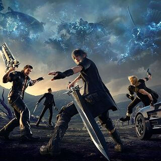Noctis wields the Sword of the Father in the North American cover art.