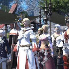 Minfilia and her fellow Scions members in the ending cutscene.