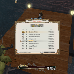 Toho Fuhai getting the end-race bonus in <i>Final Fantasy XIV: A Realm Reborn</i>