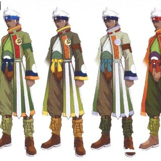 Coloured costume concepts.