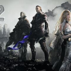 Artwork of Regis, Nyx, and Lunafreya by Kenji Niki that commemorates the <i>Final Fantasy XV</i> release day countdown on social media.