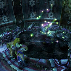 A hole in Djose Temple's Chamber of the Fayth in <i>Final Fantasy X-2</i>.