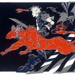 Cloud and Red XIII by Amano.
