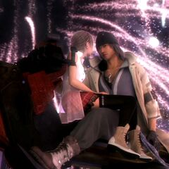 Serah and Snow inside the fireworks.