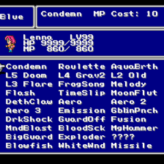 The Blue Magic menu in the SNES version.