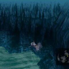 Model underwater in <i>Final Fantasy VII</i>.