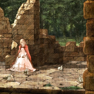 Zeltennia Chapel Ruins in a cutscene from <i>War of the Lions</i>.