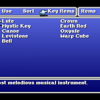 Key Item menu in the PSX version.