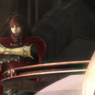 Vincent onboard the <i>Shera</i> in <i>Final Fantasy VII: Advent Children Complete</i>.