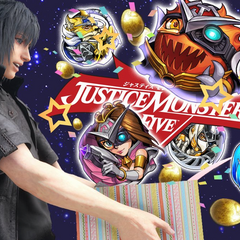 Justice Monsters Five celebrating Noctis's birthday.