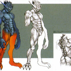 Concept art of a Makonoid for <i>Crisis Core</i>.