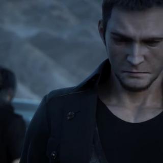 Cor speaking to Noctis in the Jump Festa 2015 trailer for <i>Final Fantasy XV</i>.