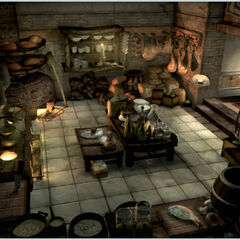 Concept artwork of the kitchen.
