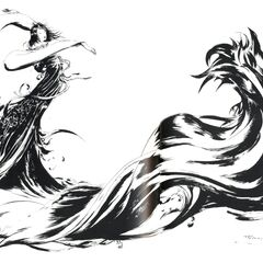 Black and white artwork of the <i>Final Fantasy X</i> logo by Yoshitaka Amano.