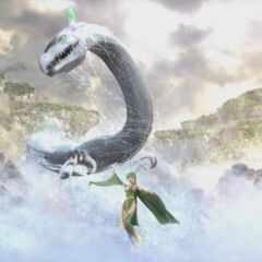 Rydia and the Mist Dragon in the opening FMV (DS).