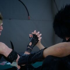 Noctis and Prompto inside during the camp.