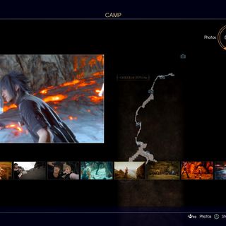 Prompto's photos' slideshow at a resting place.
