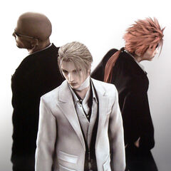 CG render of Rude and Reno with Rufus from <i>Final Fantasy VII: Advent Children</i>.