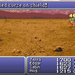 <i>Final Fantasy VI</i>, the curse on the Cursed Shield is dispelled.