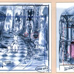 Concept art of a hallway and a library.