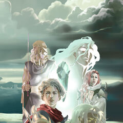 Concept artwork of Kain as the Hooded Man with Rosa, Cecil, Ceodore, and a Maenad.