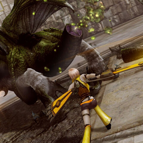 Lightning cuts off Zomok's tail.