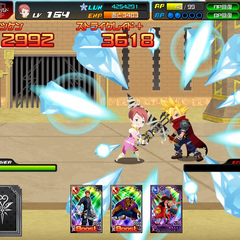 Screenshot of Cloud in <i>Kingdom Hearts χ [chi]</i>.