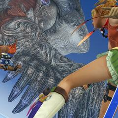 Rikku fighting Sin.