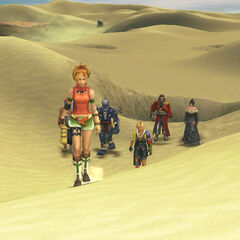 The party traveling across Sanubia Sands in <i>Final Fantasy X</i>.