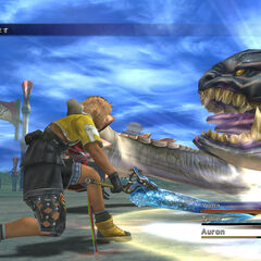 Tidus attacking Chocobo Eater in <i>Final Fantasy X HD</i>.