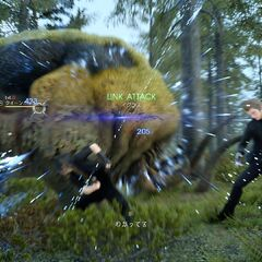 Noctis and Ignis attacking Garulessa together.