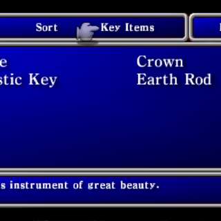Key Item menu in the PSP version.