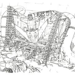 Concept art of a destroyed stage.