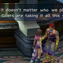 Bickson bragging in <i>Final Fantasy X-2</i>.