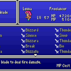 The Sword Magic menu in the GBA version.