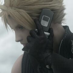 Cloud using the phone in <i>Final Fantasy VII: Advent Children</i>.