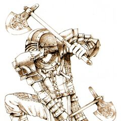 Promotional artwork of the Warrior job class by Yuzuki Ikeda.